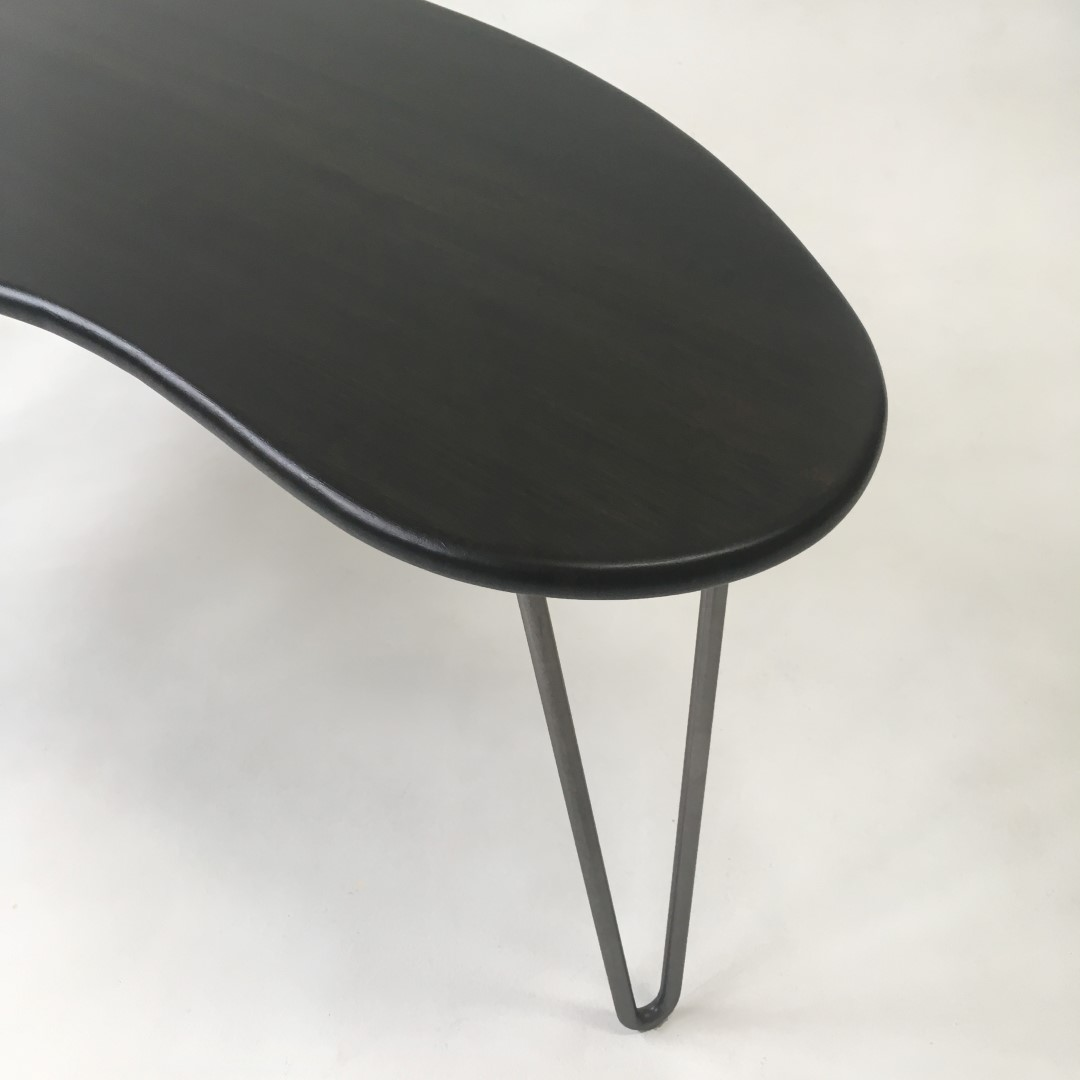 Black mid century modern coffee table kidney bean shaped black mid century modern coffee table kidney bean shaped atomic era biomorphic boomerang design in dyed bamboo geotapseo Choice Image