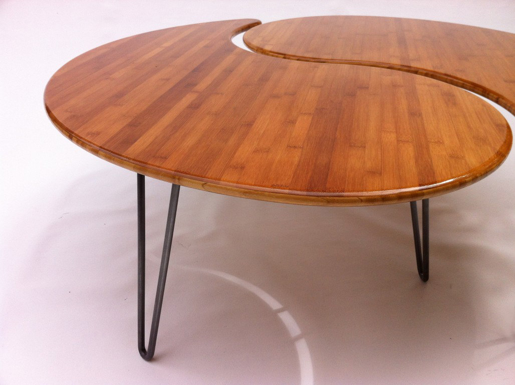 Yin Yang Nesting Large Round Coffee Table Mid Century Modern Atomic Era Design In Bamboo