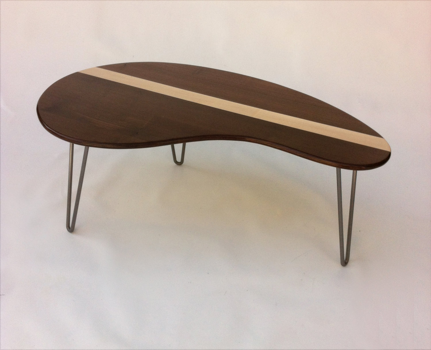 Mid Century Modern Coffee Table Solid Walnut With Maple Inlay Kidney Bean Shaped Eames Era