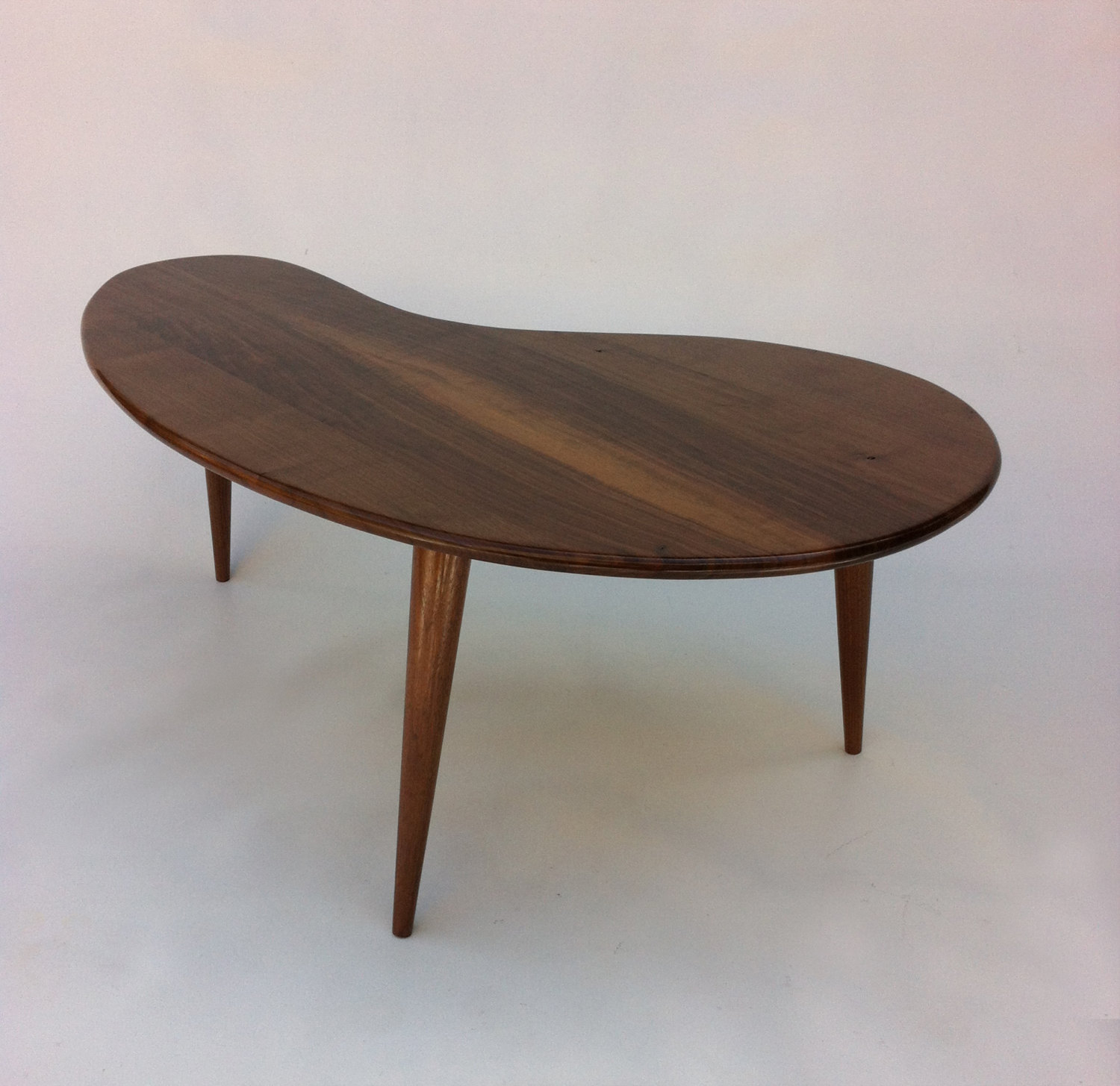 Mid century modern coffee table solid walnut kidney bean for Modern style coffee tables