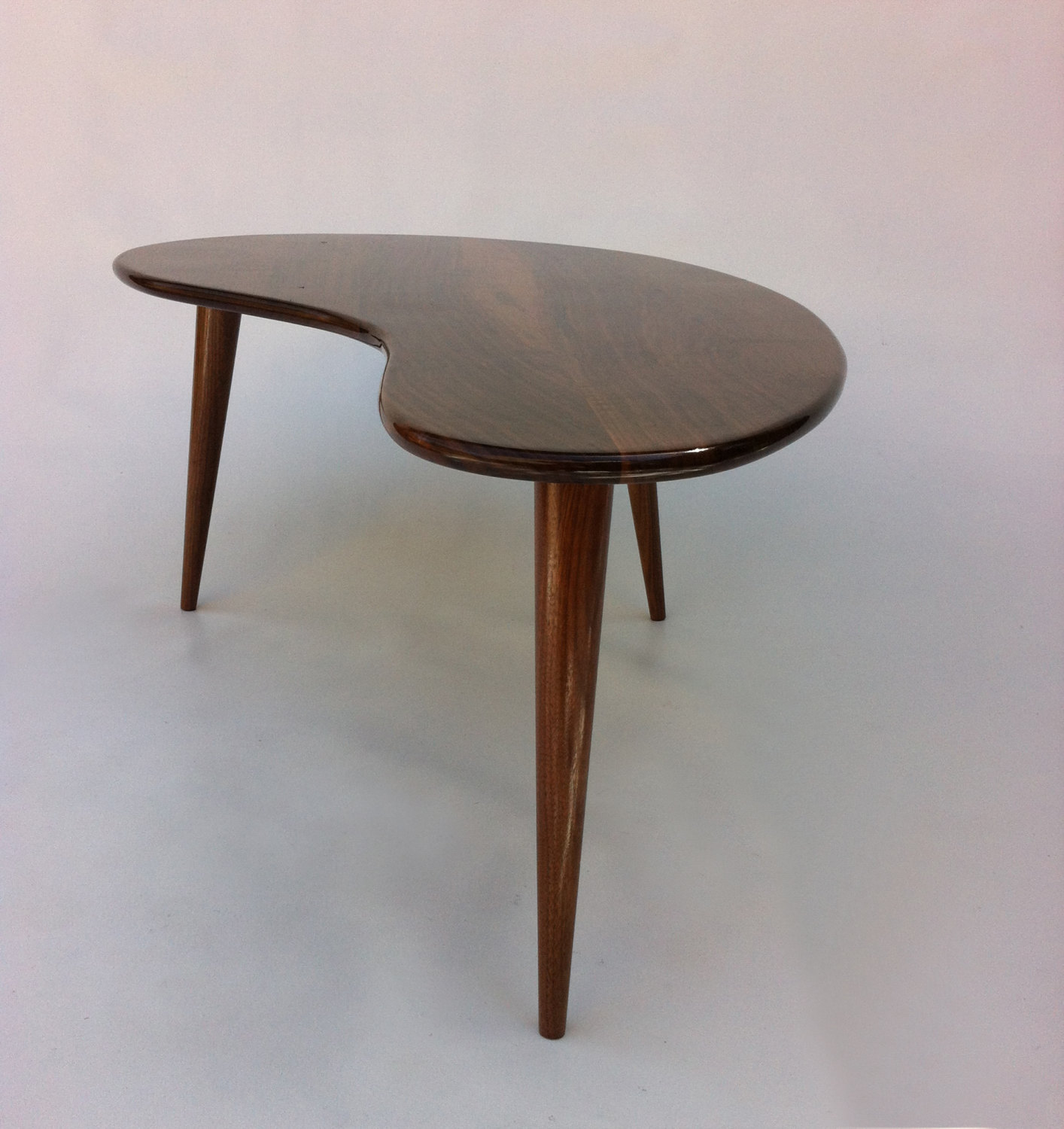 Mid Century Modern Coffee Table – Solid Walnut Kidney Bean