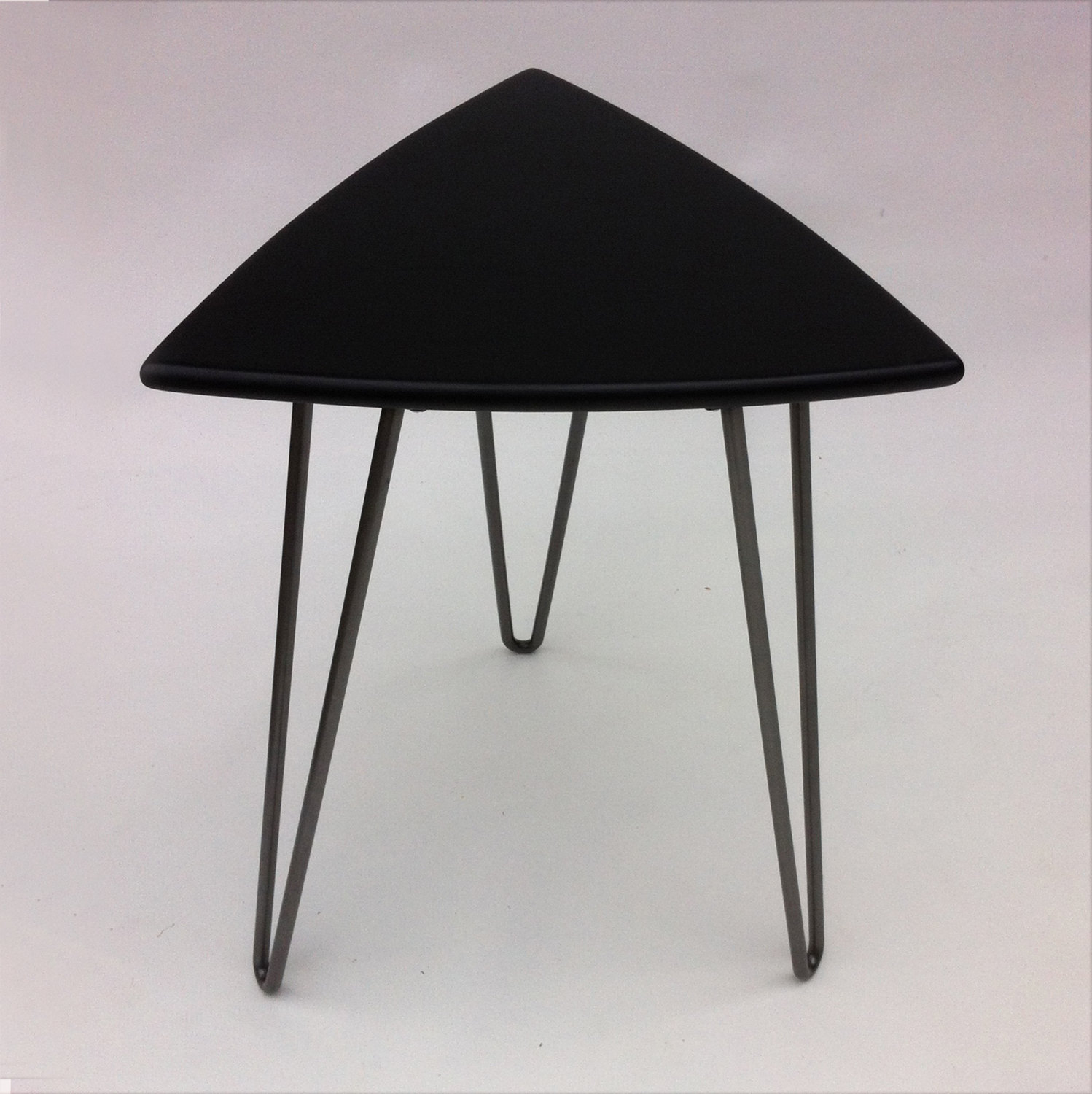 Mid Century Modern Black Guitar Pick Side Table - Black triangle end table