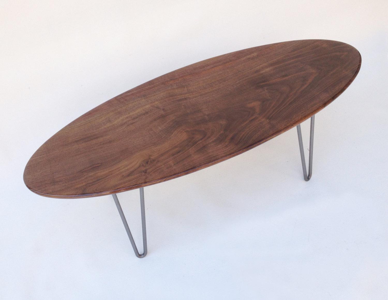 47u2033 Elliptical Surf Board Solid Walnut Mid Century Modern Coffee Table ...