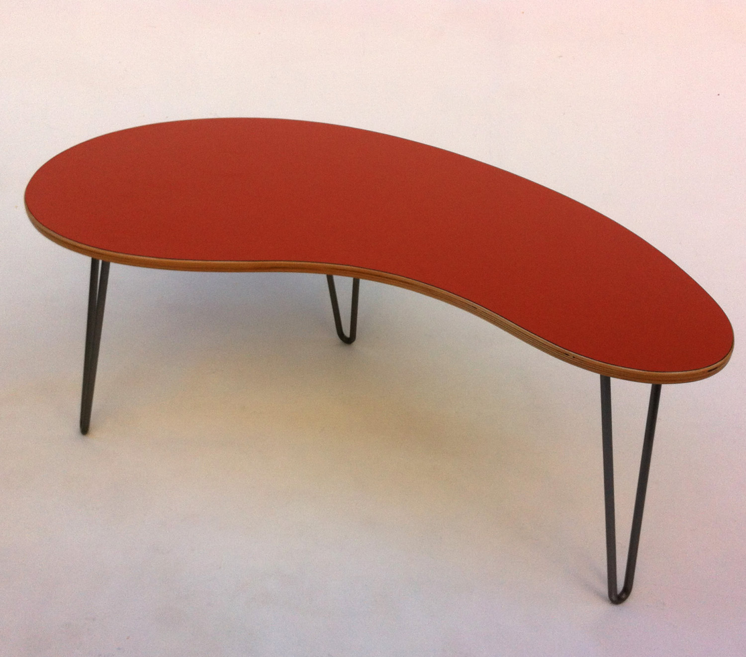 Orange Kidney Bean Shaped Mid Century Modern Coffee Or Cocktail Table Atomic Age