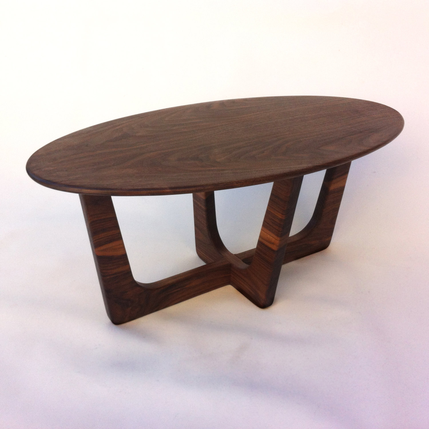 Elliptical Solid Walnut Coffee Table
