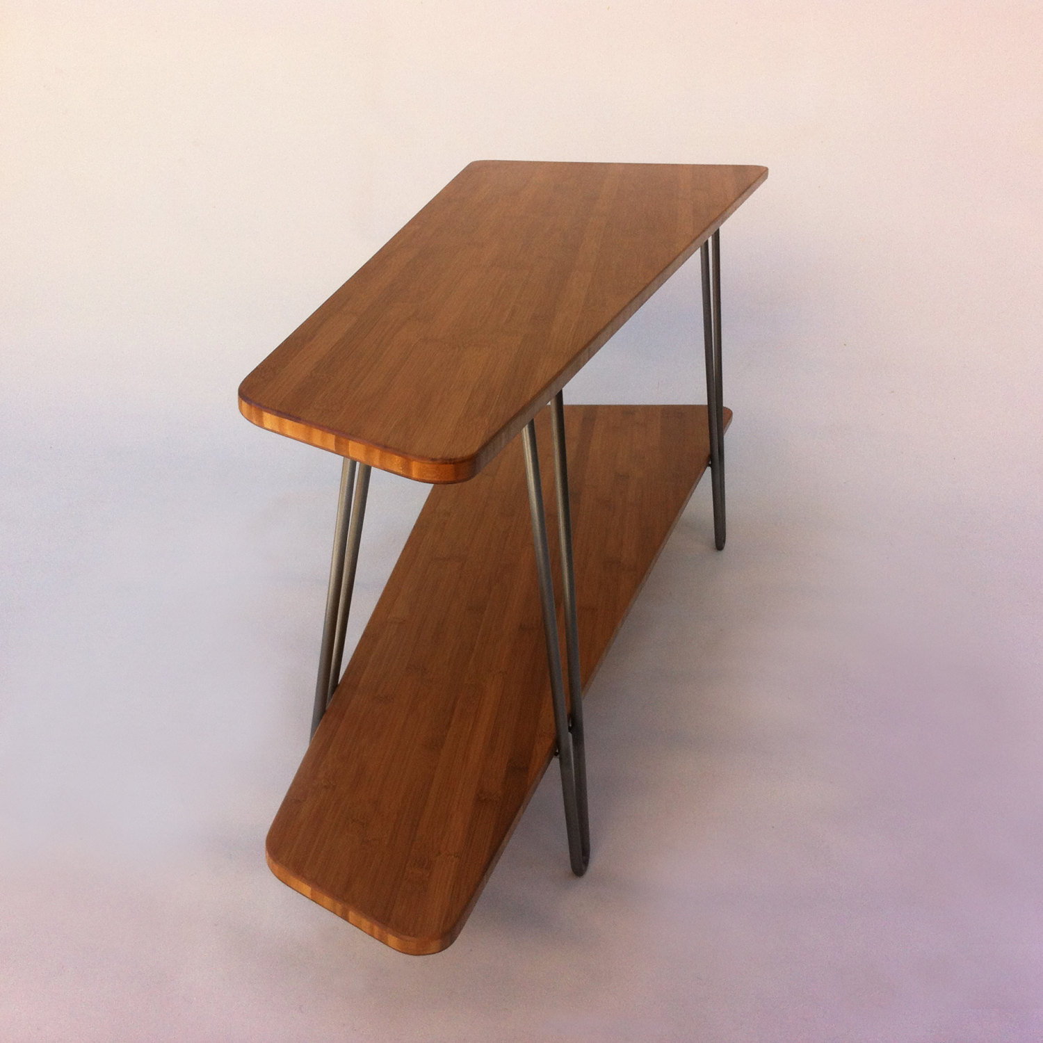 mid century modern tv stand media console with shelf u2013 low hall table in caramelized bamboo on hairpin legs
