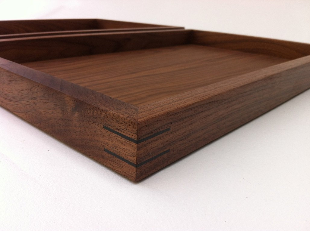 Modern Walnut Display Box Ottoman Tray W Splines And Felt Bottom Large Zen Garden Interior