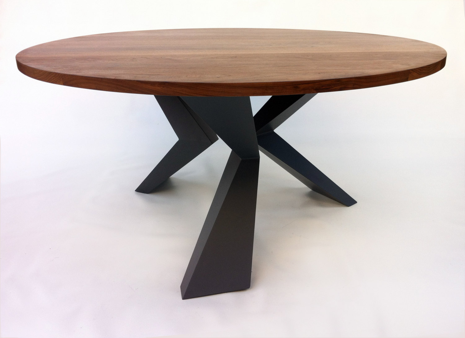 Contemporary Modern Round Dining Table Solid Walnut with Bird Legs