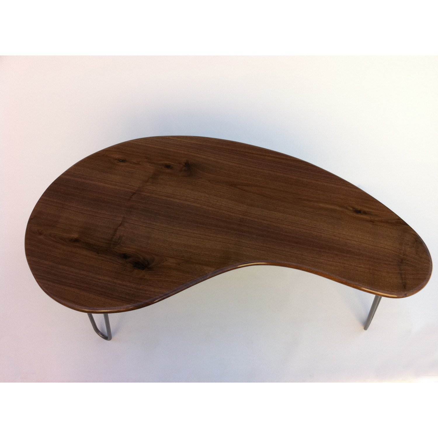 Mid Century Modern Coffee Table 60 Large Solid Walnut Cocktail Table Kidney Bean Shaped