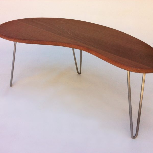 outdoor ipe mid century modern coffee or cocktail table kidney bean shaped bbq side table outdoor biomorphic in solid ipe wood
