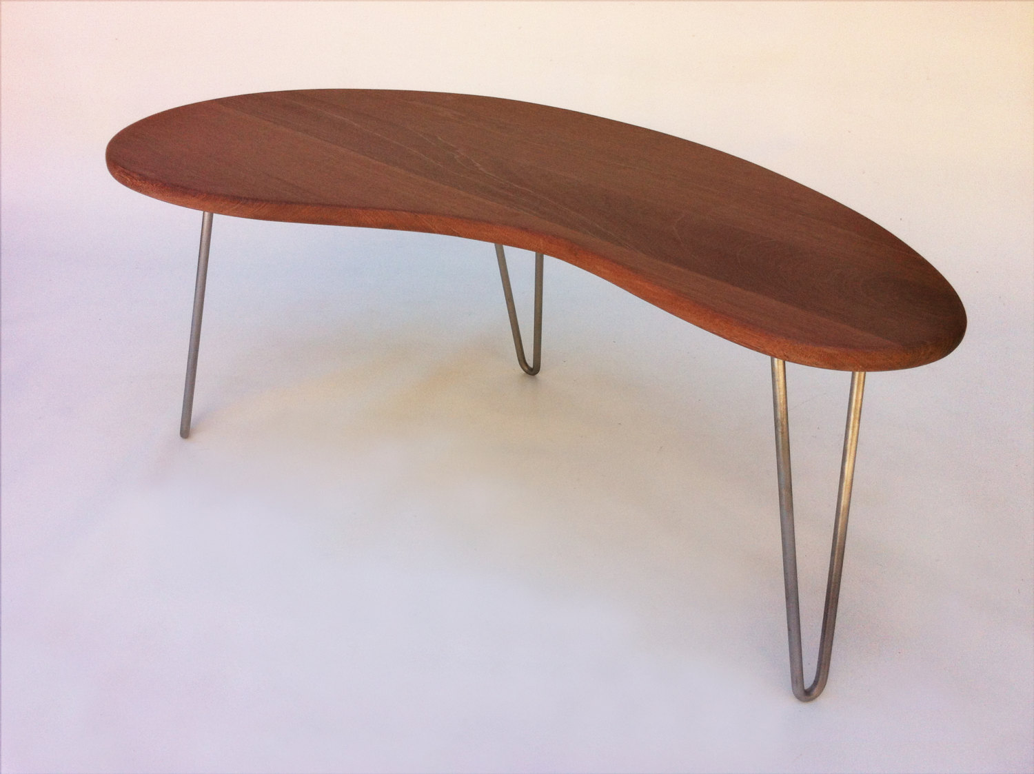 Outdoor Ipe Mid Century Modern Coffee Or Tail Table Kidney Bean Shaped Bbq Side
