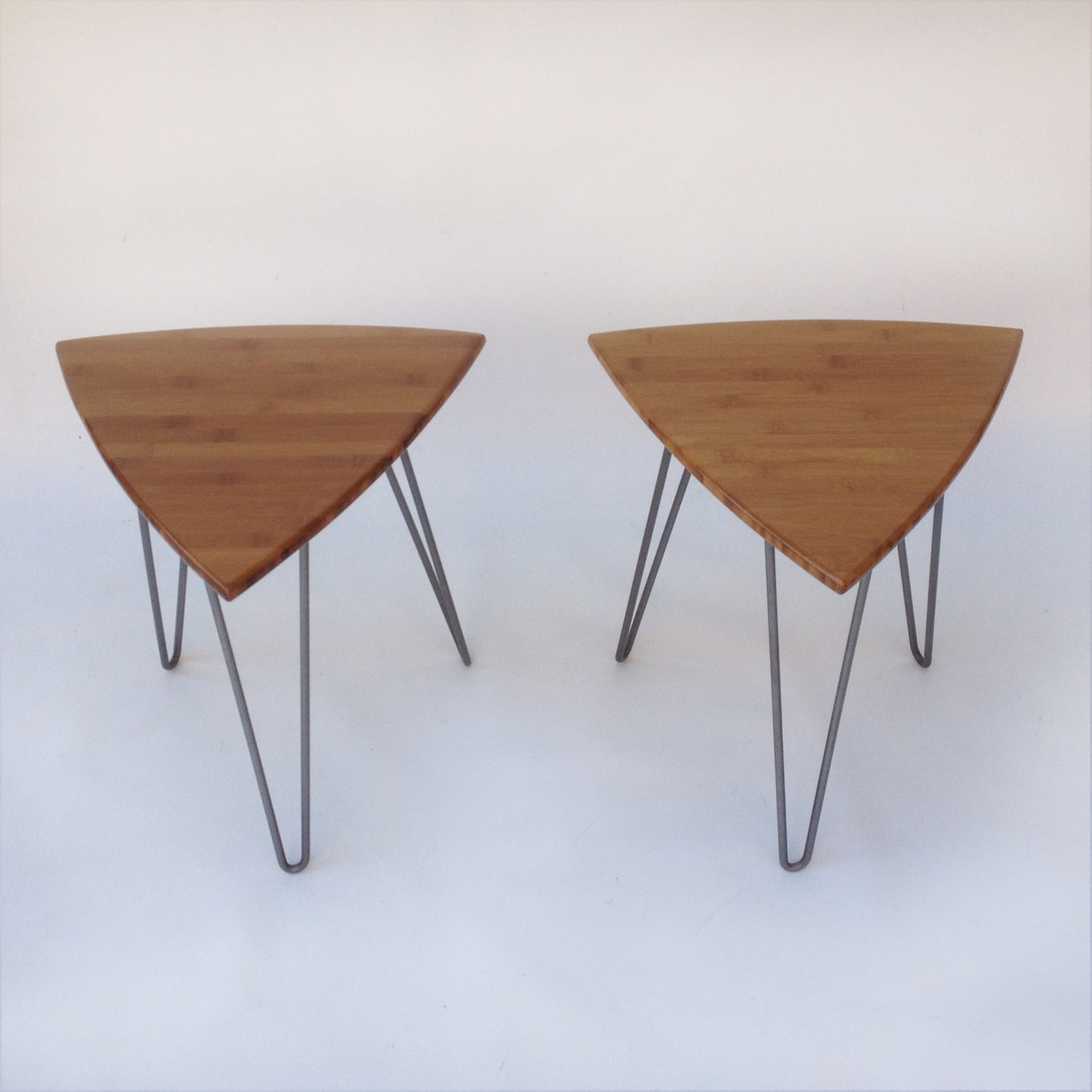 Pair of Guitar Pick Side Tables Mid Century Modern Triangle Shaped