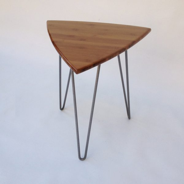 pair of guitar pick side tables mid century modern triangle shaped end tables u2013 new atomic era design in caramelized bamboo on hairpin legs