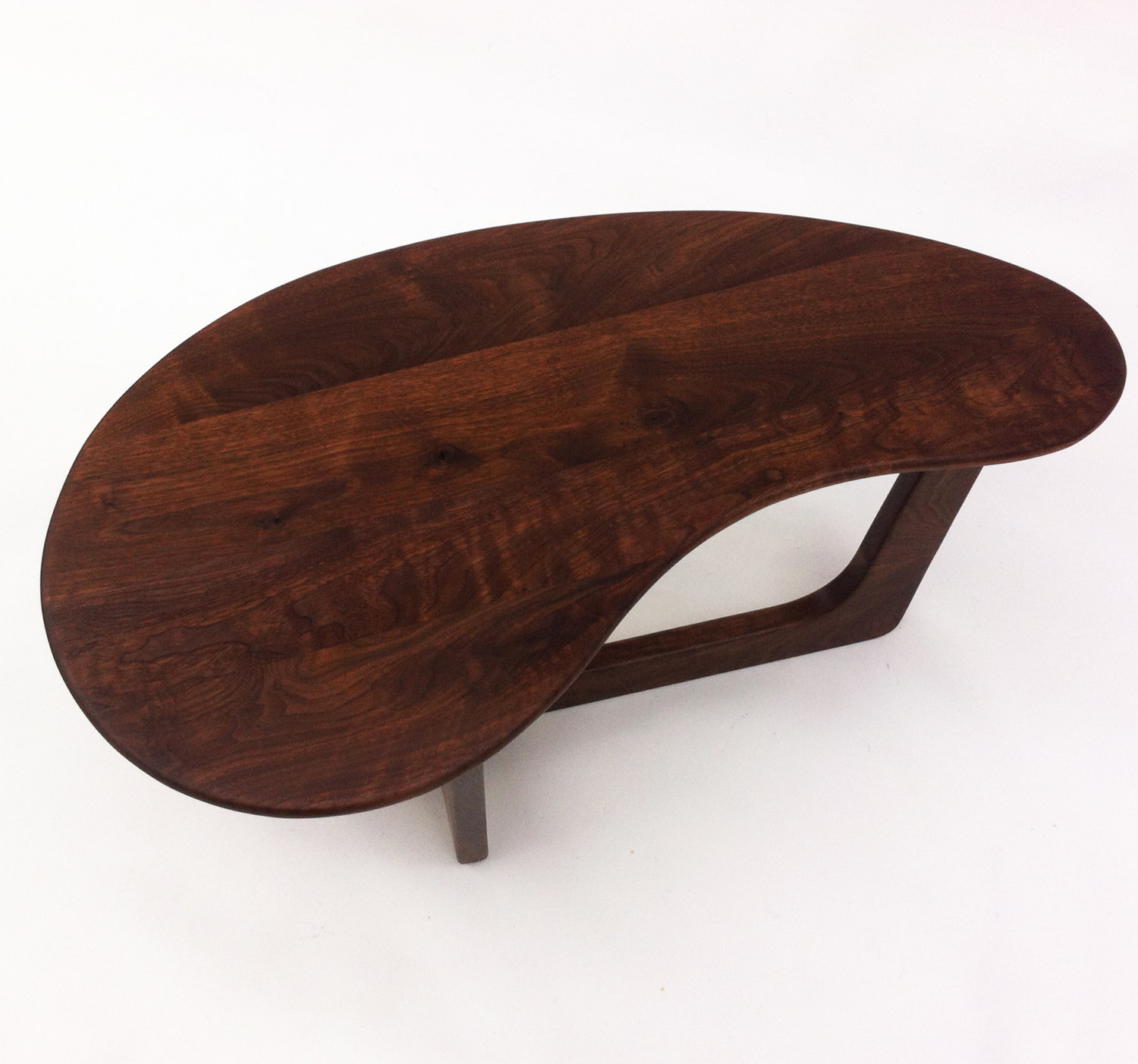 Contemporary Mid Century Modern Coffee Cocktail Table 43″ Kidney