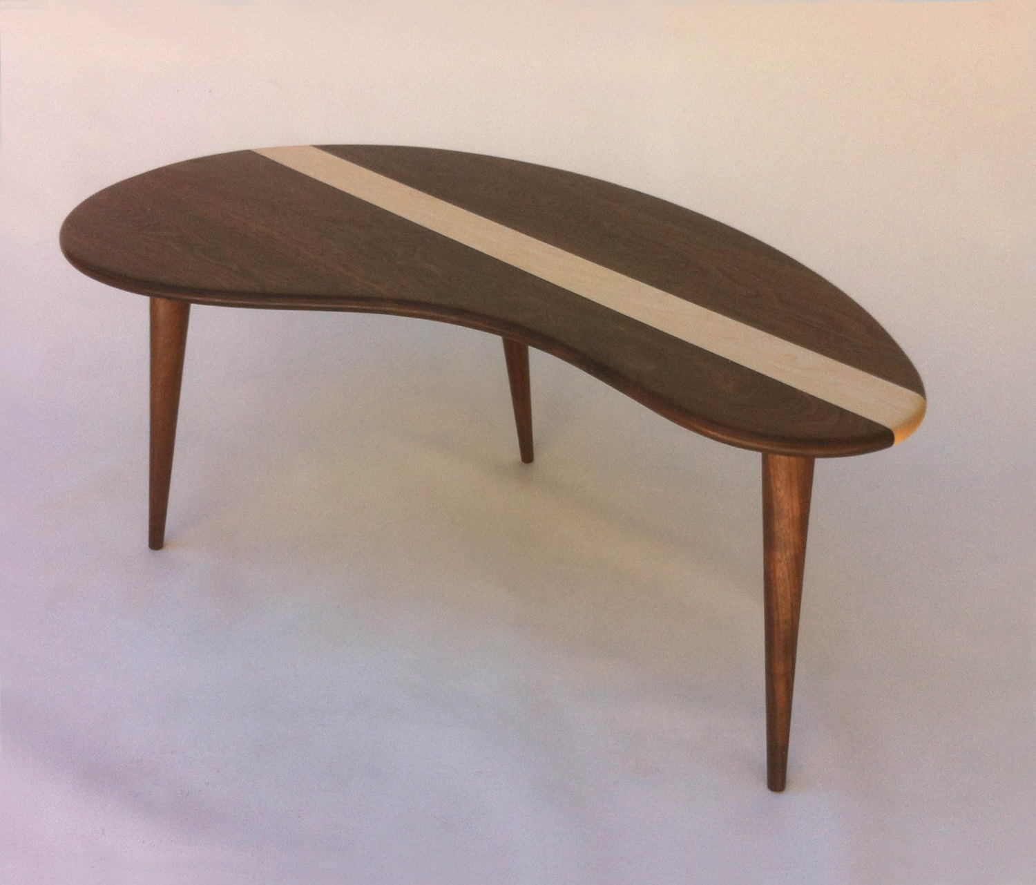 Mid Century Modern Coffee Cocktail Table – Solid Walnut with Maple