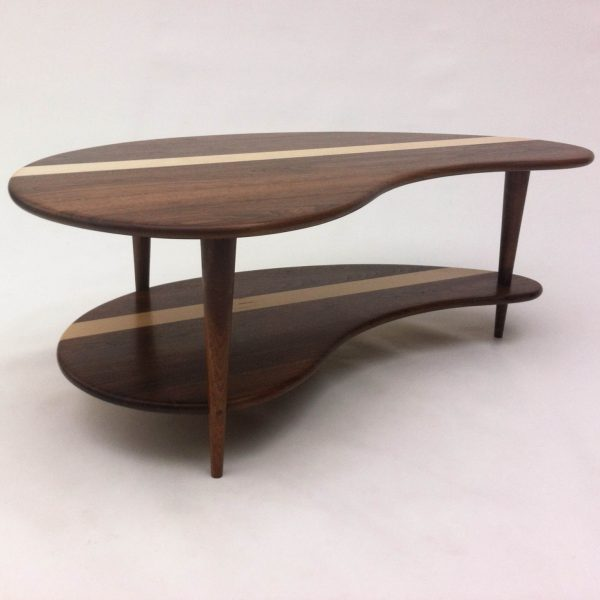 Mid Century Modern Coffee Cocktail Table U2013 Solid Walnut With Shelf U2013 Kidney Bean  Shaped U2013 Boomerang Design W/ Tapered Walnut Legs