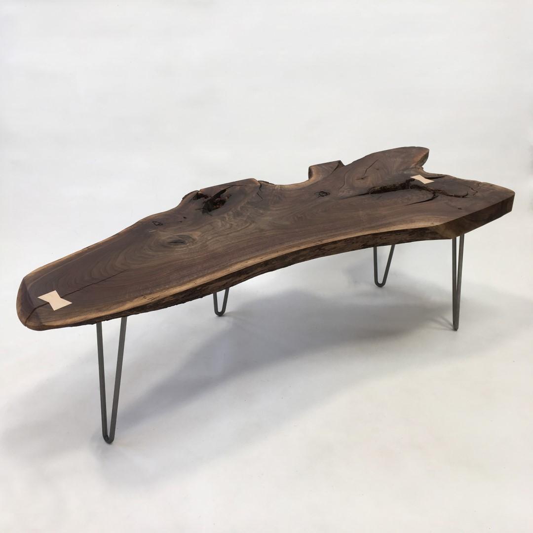 Mid Century Walnut Live Edge Coffee Table: Mid Century Modern Natural Live Edge Table With Hairpin