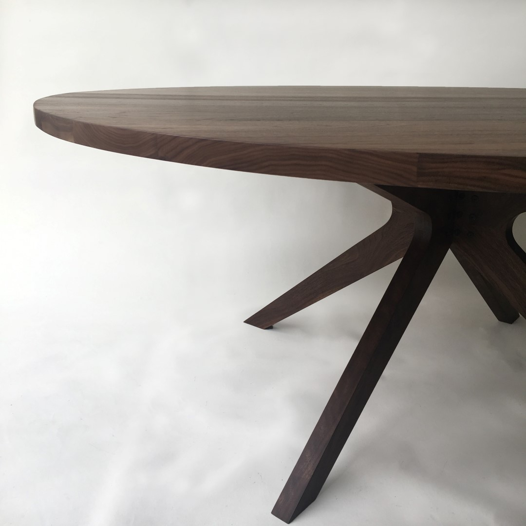 Contemporary Modern Solid Walnut Round Dining Table with Modern