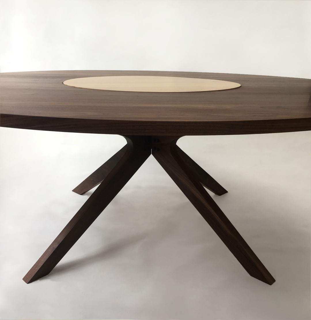 contemporary modern solid walnut round dining table with maple lazy susan modern sculptural. Black Bedroom Furniture Sets. Home Design Ideas