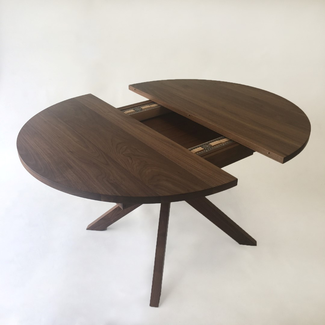 Contemporary Modern Solid Walnut Round Dining Table With