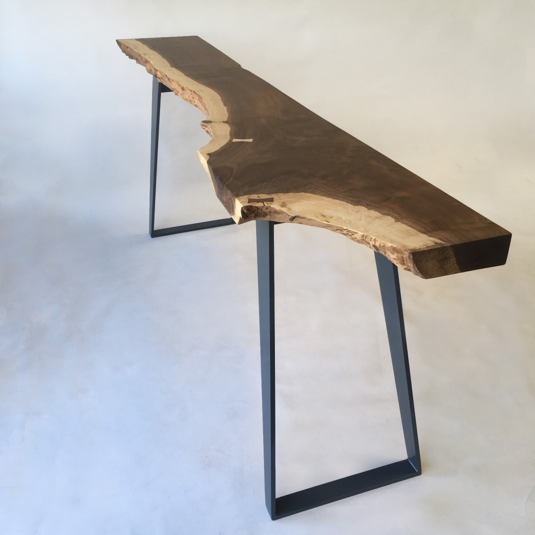 Natural Live Edge Walnut Slab Hall Table Contemporary Console in