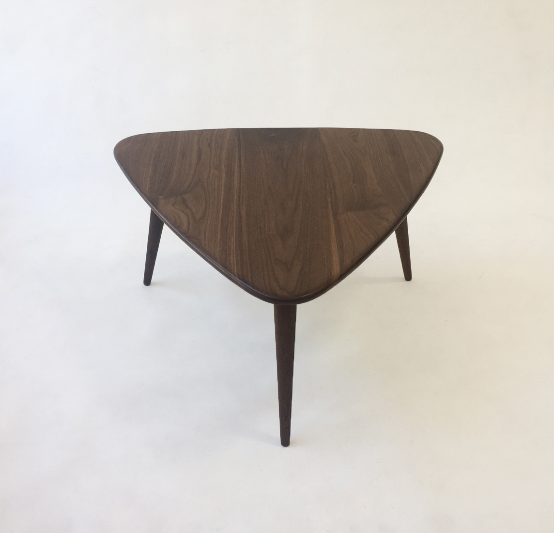 walnut guitar pick side table u2013 midcentury modern u2013 atomic era design in solid walnut with solid walnut tapered legs